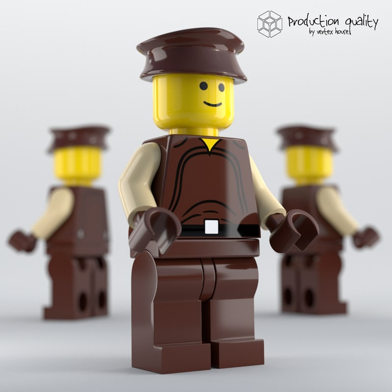 3d model of lego naboo security officer