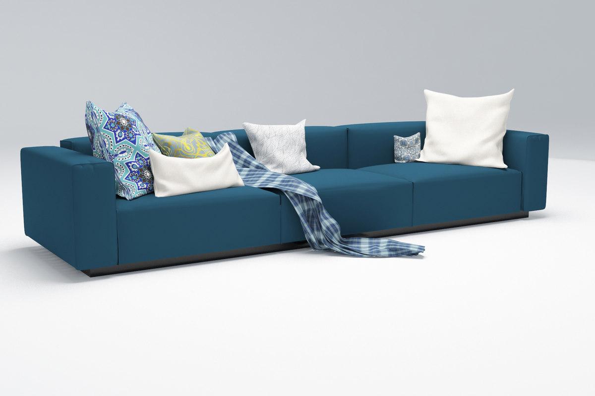 sofa blue 3d max