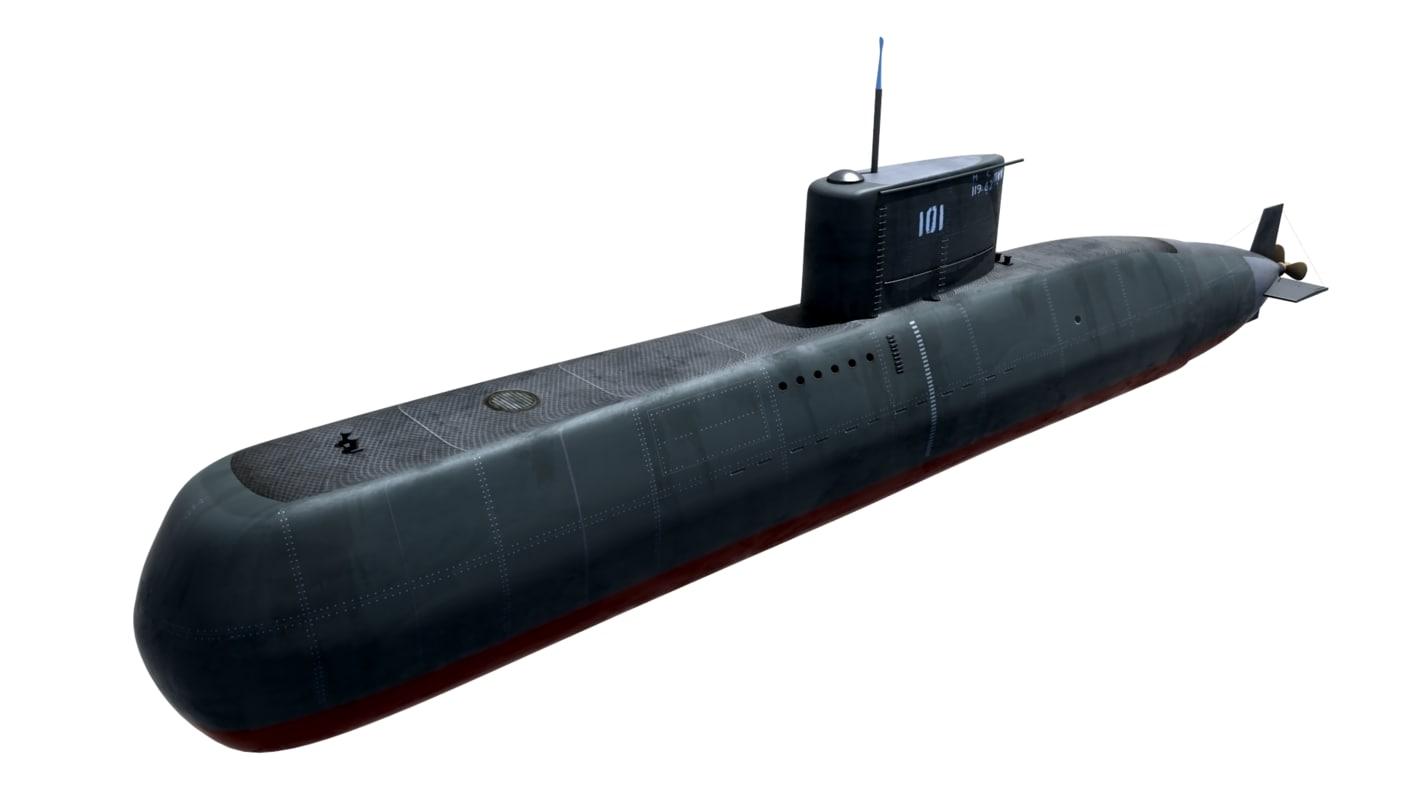 3d preveze class submarine 209 model