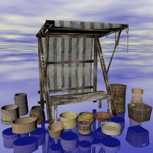 market stall baskets 3d model