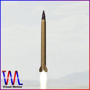 3d model iranian emad ballistic missile