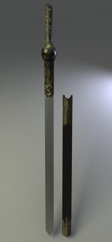 3d longsword sword weapon model