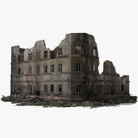 3d destroyed ruined building war 2