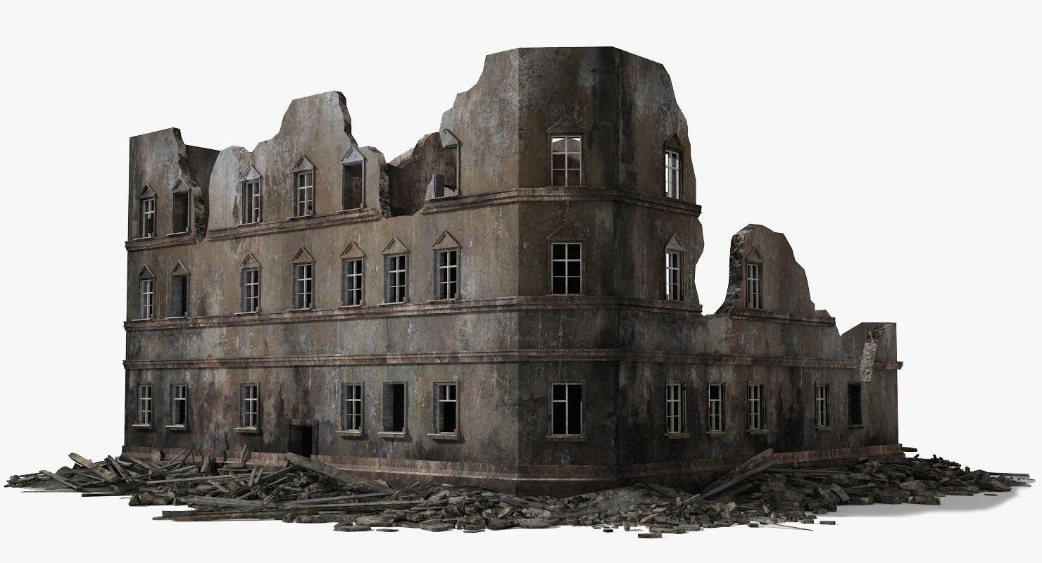 3d destroyed ruined building war 2