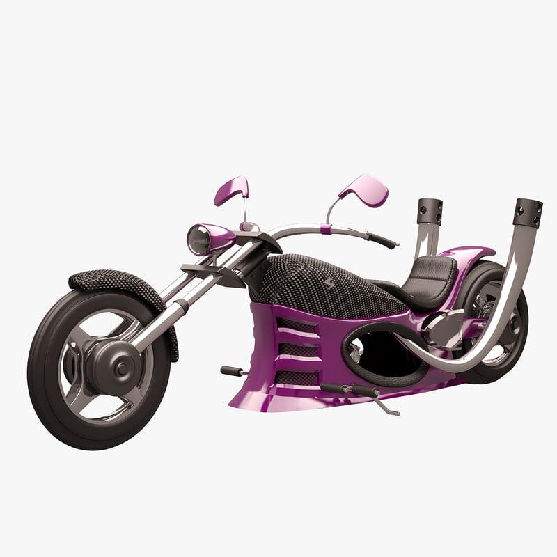 3d model chopper purple carbon