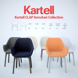 kartell clap armchair 3d model