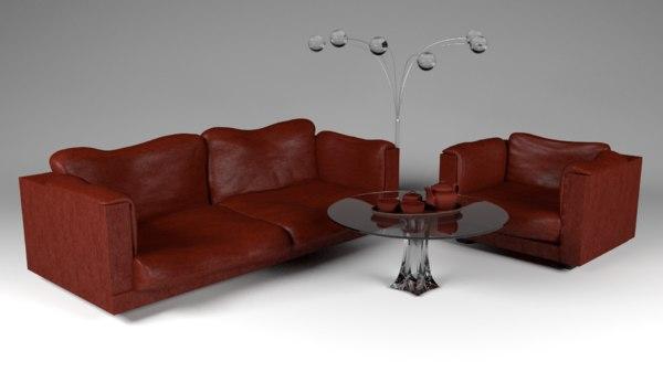3d model sofa armchair set