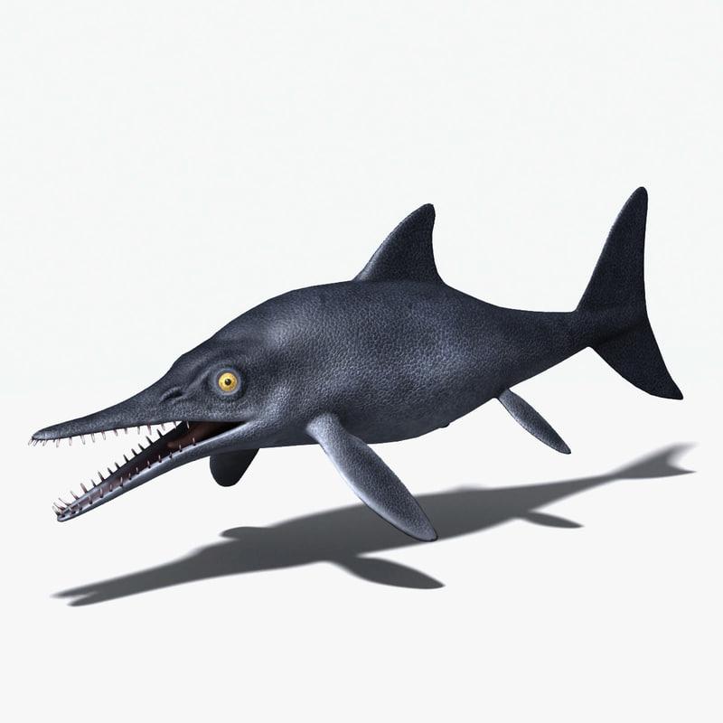 ichthyosaurs triassic cretaceous 3d max