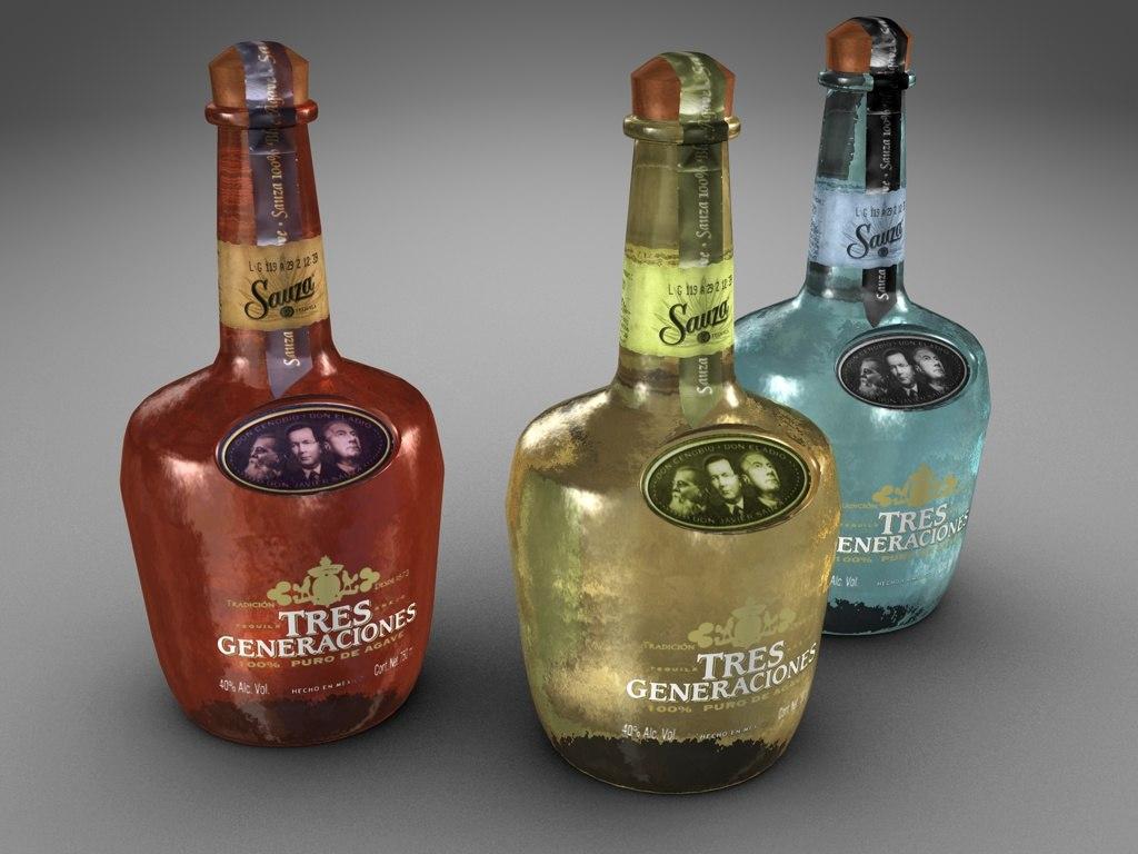 bottles sauza tequila 3d 3ds