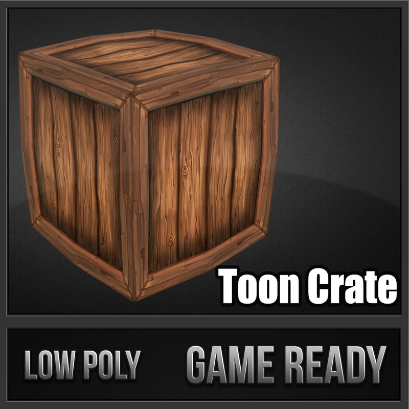3d model of crate toon