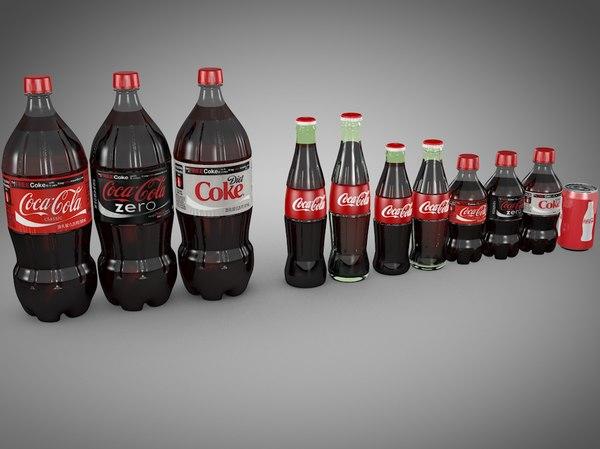 coke glass bottle assortment 3d c4d