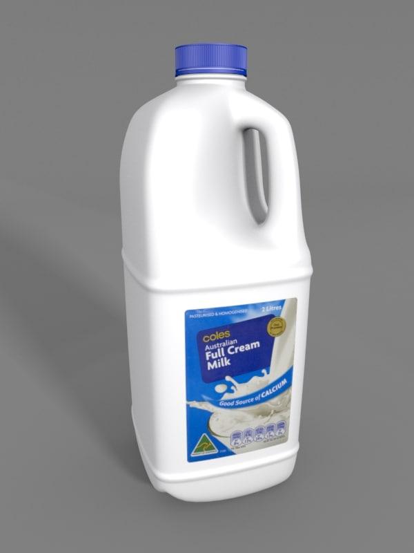 milk bottle 2l 2 3d model