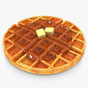 3d model realistic waffle honey butter