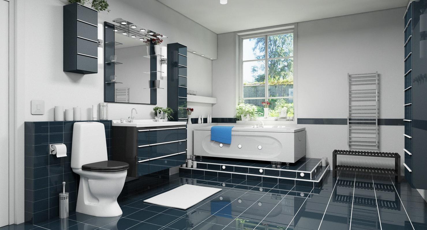 bathroom suite interior 3d max