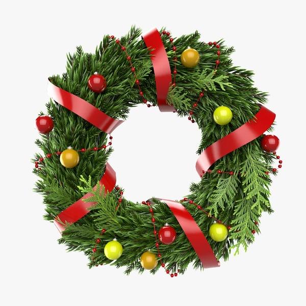 christmas wreath 2 3d model