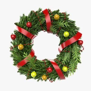 christmas wreath 2 3d model