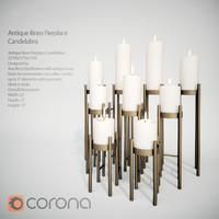 Antique Brass Fireplace Candelabra