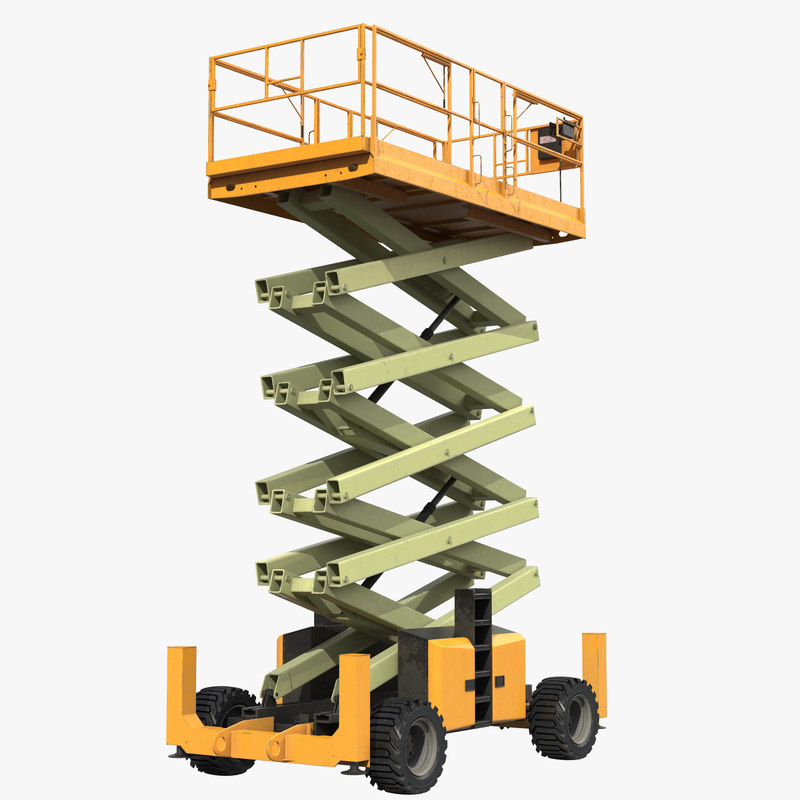 3d engine powered scissor lift model
