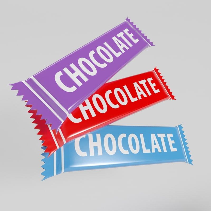 3d chocolate packet model