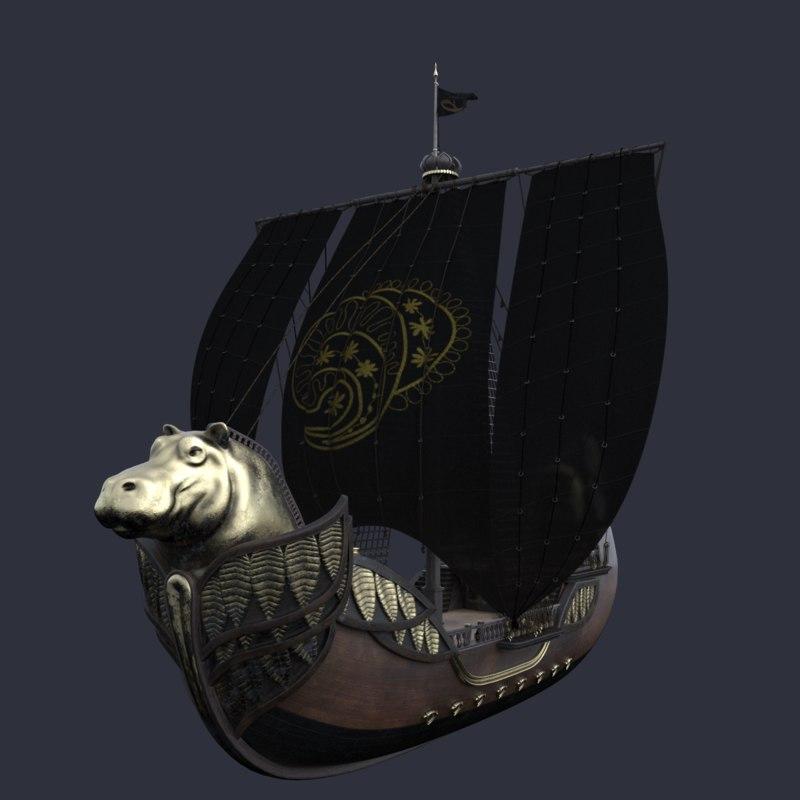 ship sailboat hippo 3d max