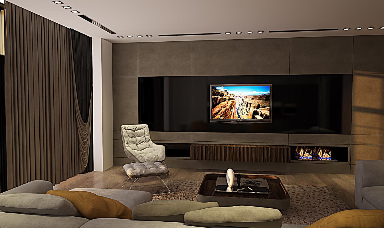 modern living room 3d max