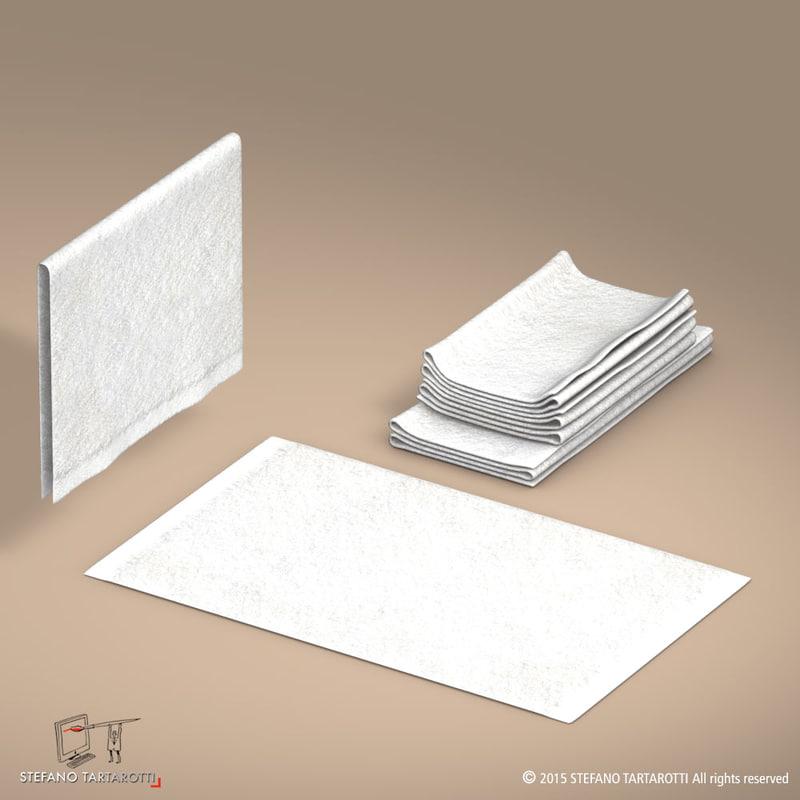 towel flat folded 3d model