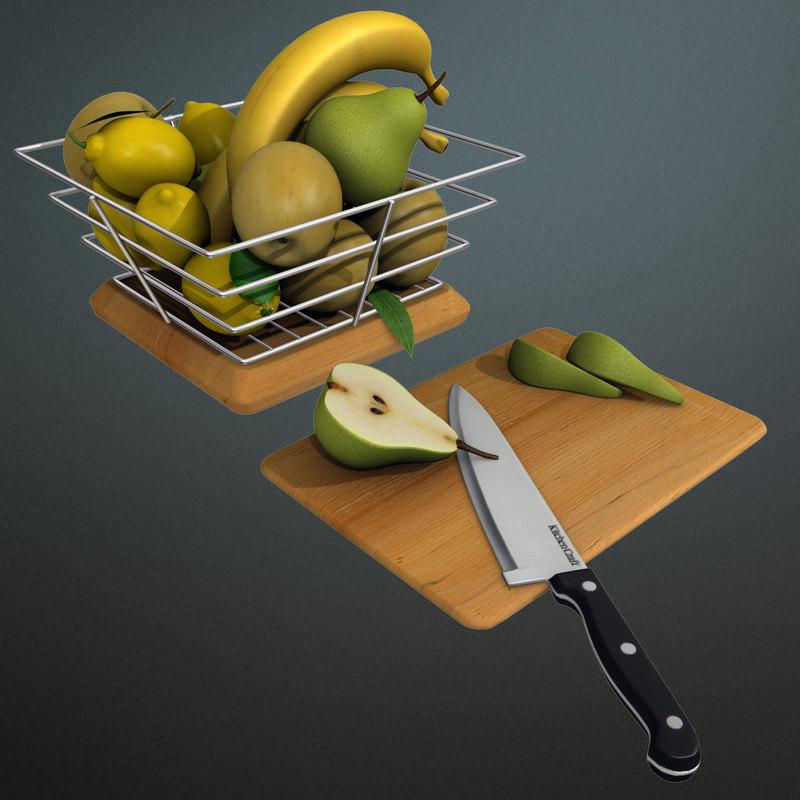 fruit bowl apple banana 3d model