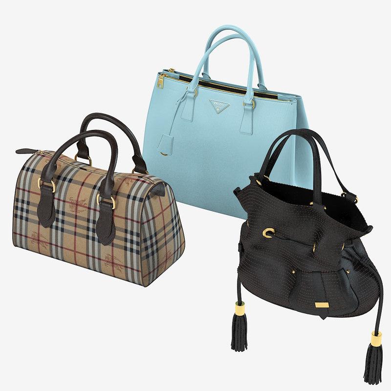 3d model women bags set