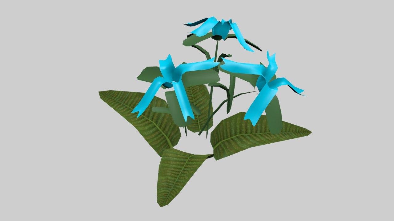 3d blue flower model