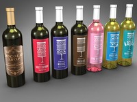 bottles confectioner s wine 3d model