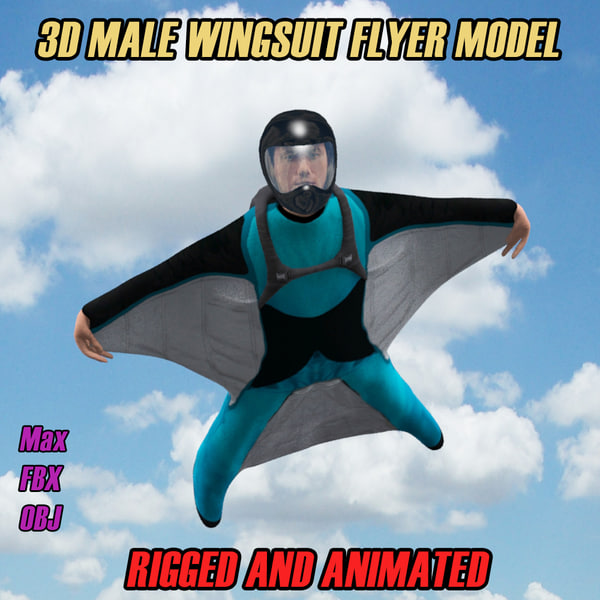 male wingsuit flyer animation 3d model