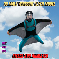 3D Wingsuit Male Flyer Model Rigged Animated
