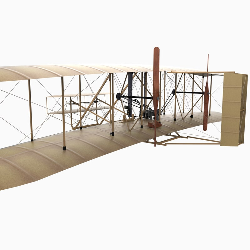 3d 1903 wright flyer airplane