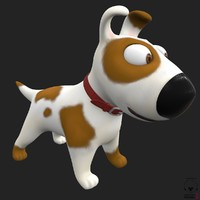 funny cartoon dog animation 3d model