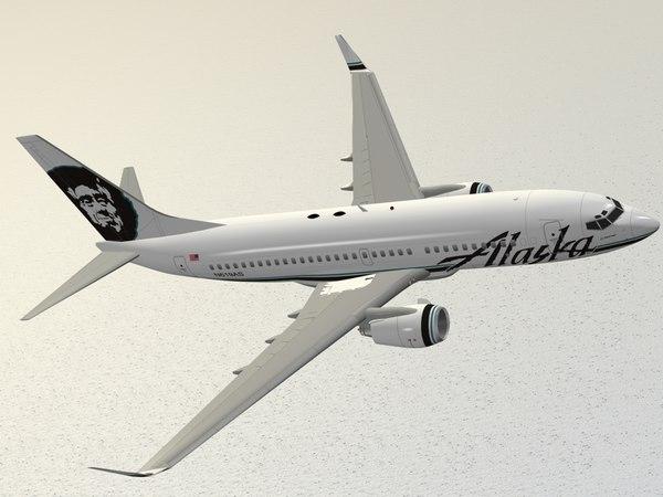 3d model boeing 737-700 alaska airlines