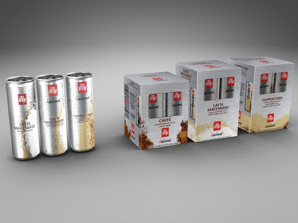 3d model of boxes illy coffee