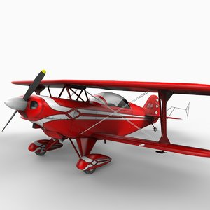 pitts special biplane planes 3d model
