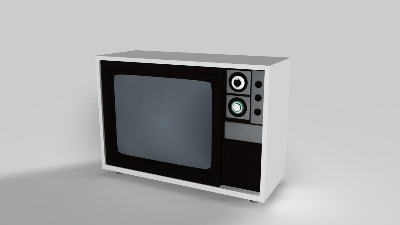 3d model retro tv