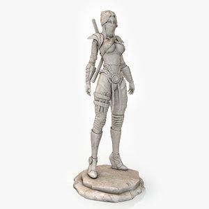 3d assassin statue model