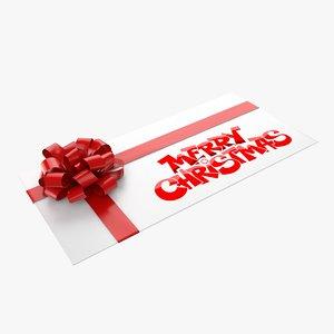 christmas envelope 4 3d model