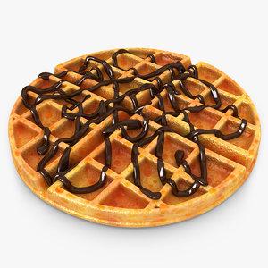 3d realistic waffle chocolate