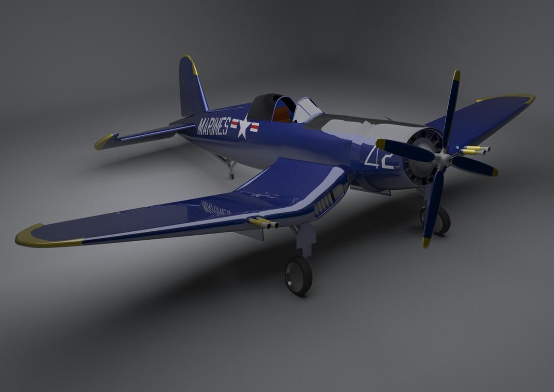 vought f4u corsair 3d max
