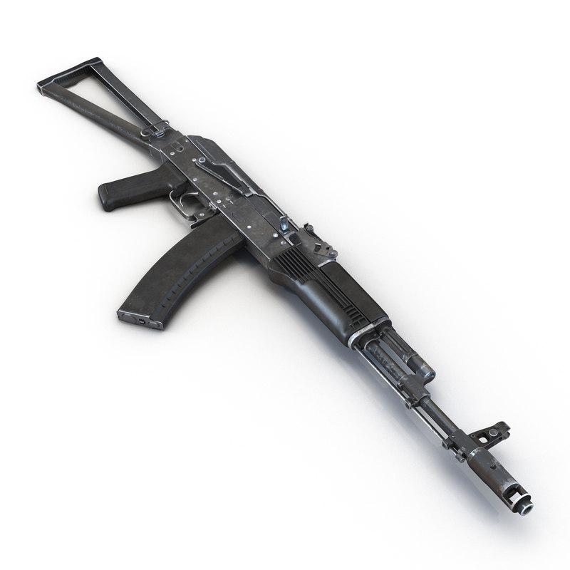 3d model assault rifle aks 74