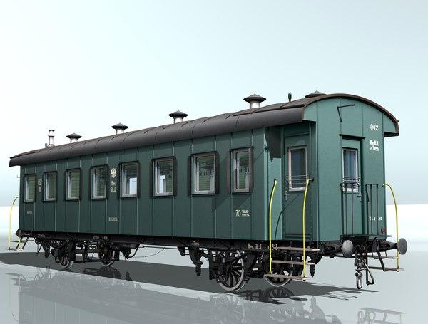 3d 2-axles wagon passenger 042 model