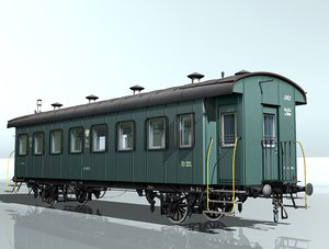 3d 2-axles wagon passenger 042 model