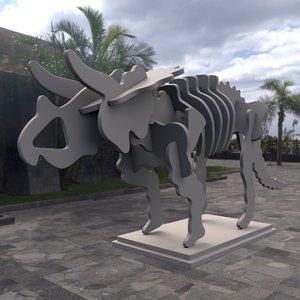 3d modern art triceratops skeleton model