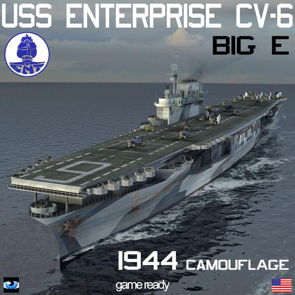 uss enterprise cv-6 big 3d model