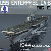 uss enterprise cv-6 big 3d model