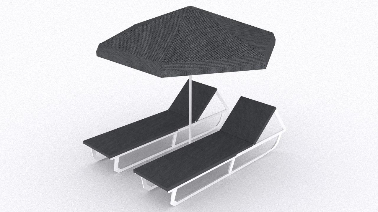 3d model swimming pool beach chair