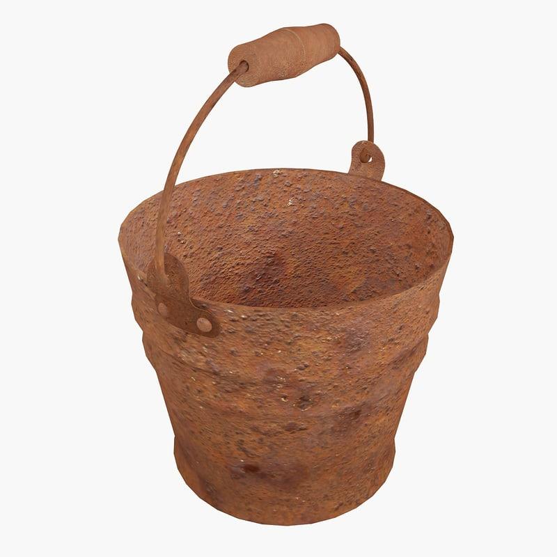 rusty bucket 3d max